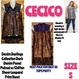 Cecico Top Size S High Low Button Up Denim Leopard